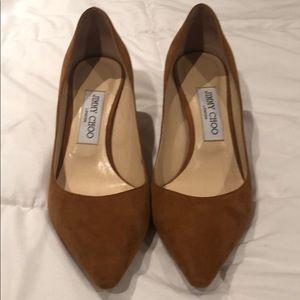 Jimmy Choo low brown suede heel
